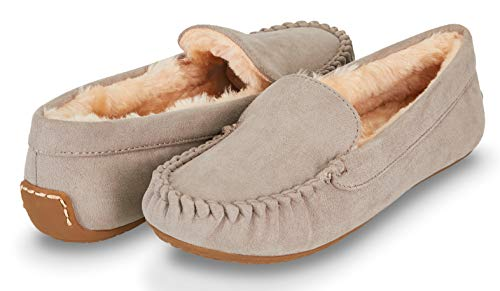 Floopi Womens Indoor/Outdoor Faux Fur Lined Basic Moccasins Slipper W/Memory Foam (8, Grey-323)