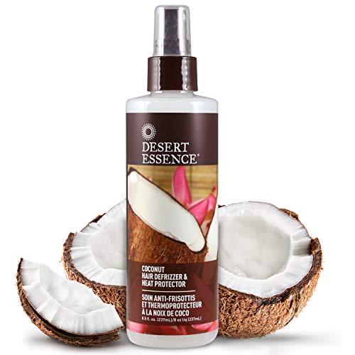 Desert Essence Soins cheveux - spray anti-frizz et protecteur de chaleur thermal à la noix de coco, 250 ml