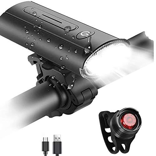 Set di luci per bici, faro per bicicletta ricaricabile USB Faro anteriore per bicicletta super luminoso e fanale posteriore con batteria incorporata Faro per bici portatile impermeabile per ciclismo