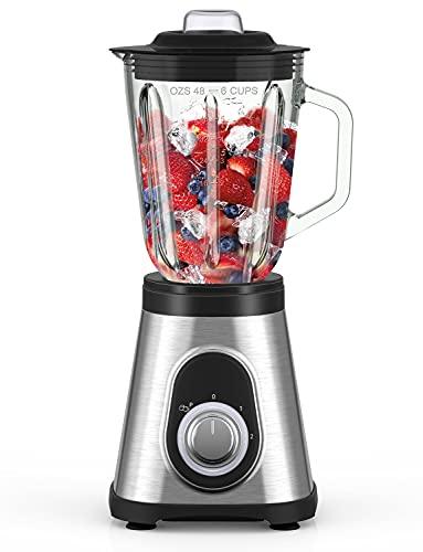 Hom Geek Standmixer Blender 700W, 1.5L Glas Smoothie Mixer Hochleistung mit 2 Geschwindigkeiten und Impuls Funktion, 6 scharfe Edelstahlklingen, 27,000U/Min für Smoothie, Milchshake und Ice Crush