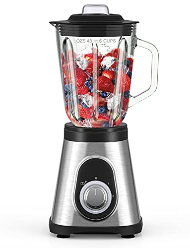 Smoothie Blender for Kitchen, 750W Countertop Blender with 48oz Glass Pitcher, Glass Blender with 6 Stainless Steel Blades, 2 Speeds & Pulse Function for Smoothie, Shakes, Ice Crushing and Frozen Fruits