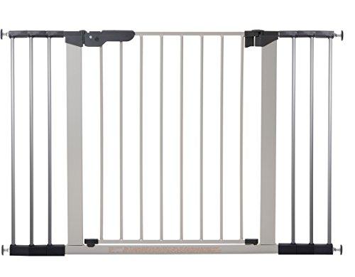 BabyDan Premier, protezioni delle porte   cancello per serraggio, 112 - 119,3 cm, - prodotto in Danimarca + omologato TÜV   GS, colore: argento   nero