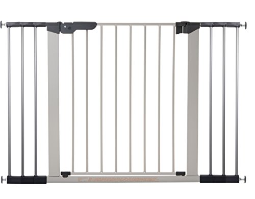 BabyDan Premier Türschutzgitter / Treppenschutzgitter zum Klemmen, 112 - 119.3 cm, - hergestellt in Dänemark + TÜV/GS geprüft, Farbe: Silber/Schwarz