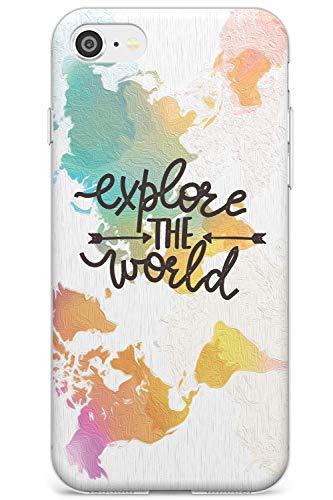 Esplora Il Mondo Slim Cover per iPhone 7 Plus TPU Protettivo Phone Leggero con Citazione Wanderlust Viaggio Lettering Carta Geografica