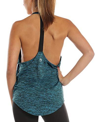 icyzone Damen Fitness Sport Tank Top Ärmelloses Sport Oberteil Yoga Gym Shirt (XS, Royal Blue)