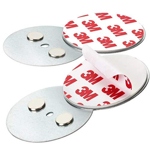 Rauchmelder Magnethalter mit 50mm Ø - 2er Set - Selbstklebend für klein und Mini Rauchmelder - 3M Klebepads mit Magnethalterung zur einfachen Befestigung ohne Bohren und Schrauben