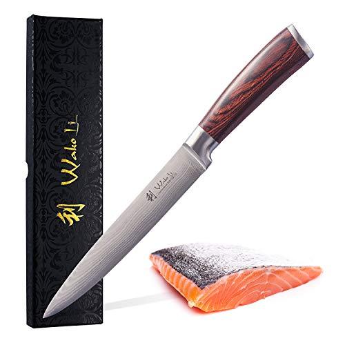 Wakoli Edib Damastmesser Fleischmesser - sehr hochwertiges sehr scharfes Profi Fleisch Messer mit Damast Klinge 18 cm, Küchenmesser, Kochmesser