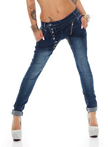 Fashion4Young 5857 MOZZAAR Damen Jeans Hose Röhrenjeans Haremshose Röhre Damenjeans Hüftjeans (4XL=48, dunkelblau-15)