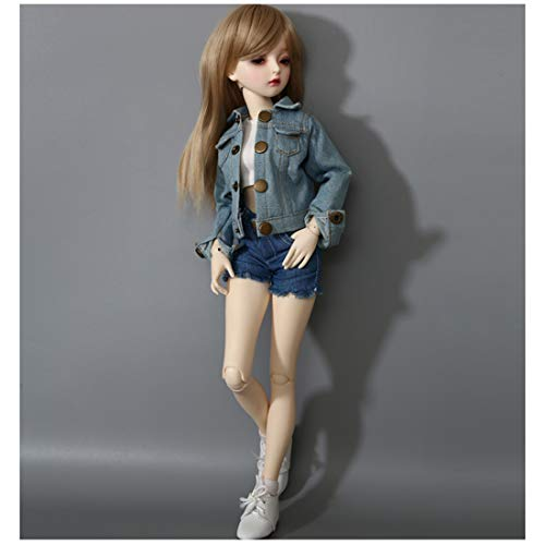 Teakpeak BJD Doll Puppen Set, BJD 1/4 Doll Gelenkig Bewegliche Puppe Makeup Doll mit Make-up Gesicht, Augen und schönen Kleidern, 41CM , Geschenk/Sammlung- Mode Jeans