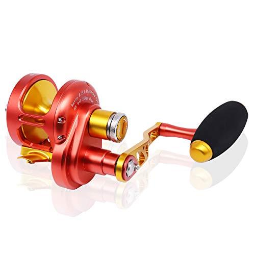 Slow Jigging Reel Aluminium Alloy Full Metal Fishing Reel,2000 Series,Left/Right Interchangeable 6.2:1 Sea Fishing Wheel 9+2BB Trolling Reel (Orange, Left Hand)
