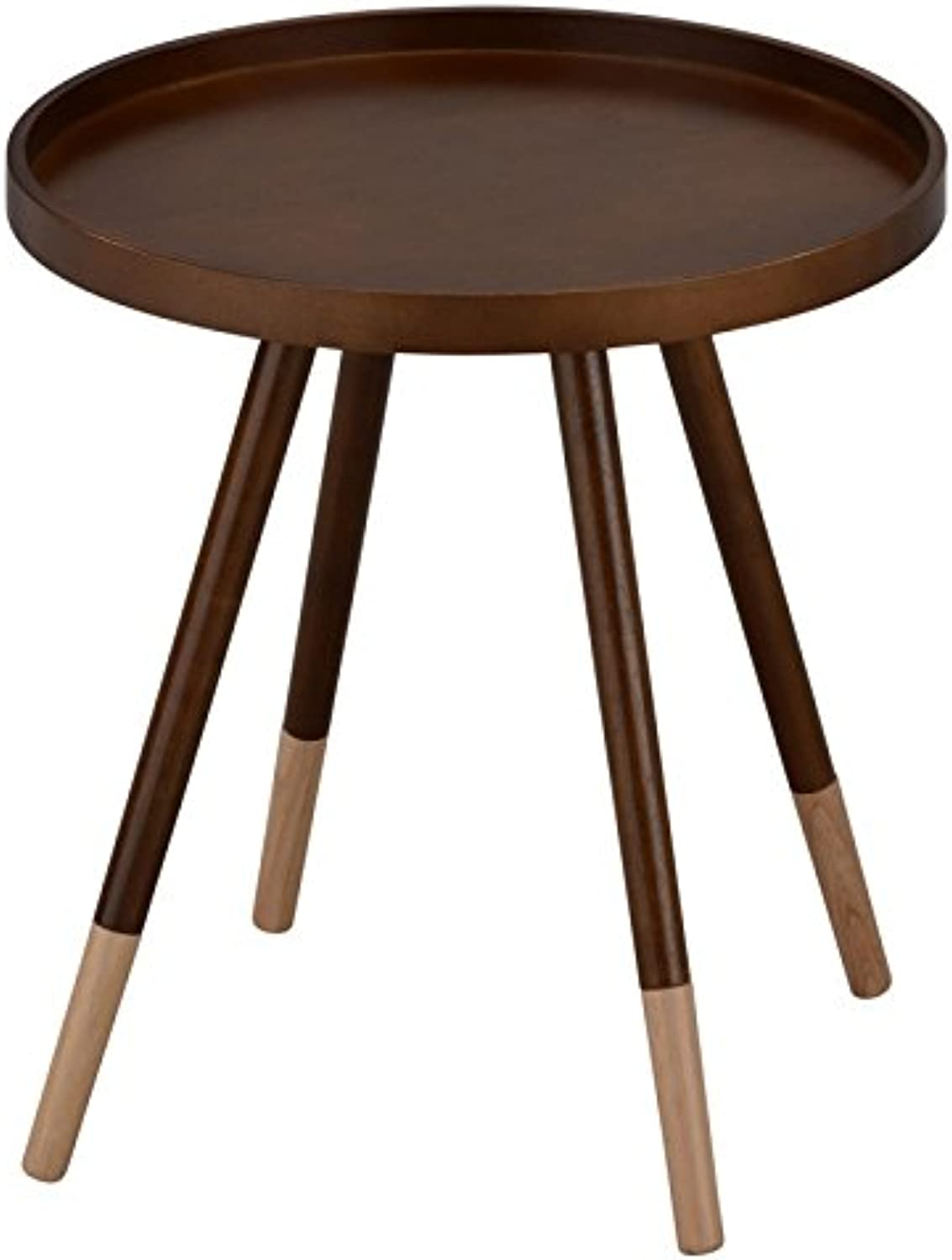OBI, Solid Wood, Mid-Century, Round, Accent Side End Table, Night Stand in Walnut