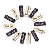 100 x Bottoni fatto a mano,Señalización de Madera, Botón de la Placa de Madera, Letrero de Madera Hecho a Mano, Trabajo Artesanal Creativo, Beige 50 Negro 50