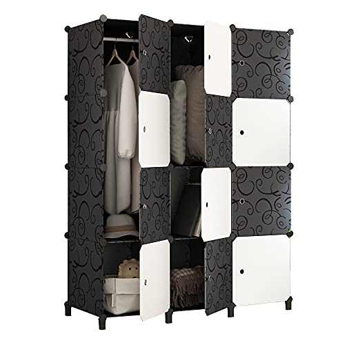JOISCOPE Portable Wardrobe for Hanging Clothes, Combination Armoire, Modular Cabinet for Space Saving, Ideal Storage Organizer Cube for Books, Toys, Towels(12-Cube)