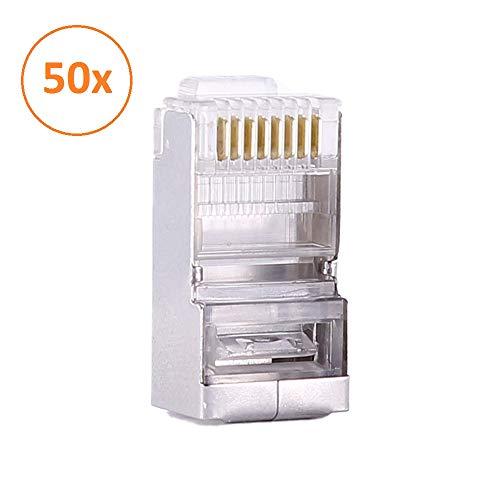- Pack 50 Piezas Conectores Cat6 RJ45 8P8C Blindado para STP Ethernet Network Cable Enchufe