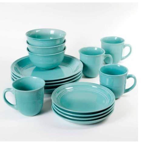 Mainstays 16-Piece Round Dinnerware Set, Green
