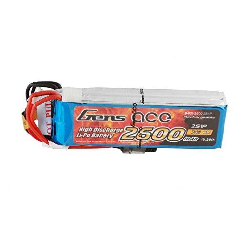 Gens ace Batterie LiPo pour récepteurs, 2600 mAh, 7,4 V, 2S1P pour modélisme radiocommandé - hélicoptère, Bateau, Voiture, Avion, FPV, Jouets tels Que Sanwa MT4 / M11X / M12, Futaba T6J / T8FG 12FG