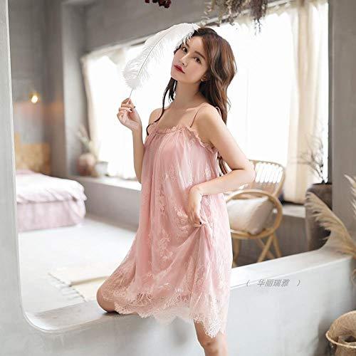Medias Mujer Lenceria Pijama Mujer Falda de Encaje Sexy camisón casero Falda Princesa Estilo delgado-165 (L) _Lotus Root almidón