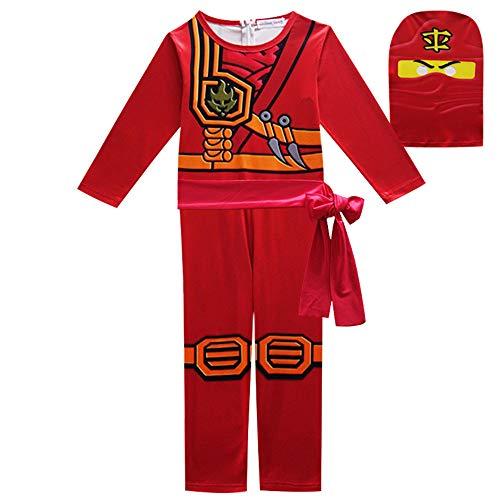 FINDPITAYA Disfraz Ninjago Masters of Spinjitzu Halloween Navidad Ninja Cosplay Costume con Máscara y Cinturón para Niños Rojo (120)