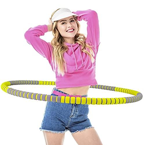Creatck Fitness Exercise Hoop, Ring Reifen Erwachsene Zur Gewichtsreduktion und Massage Verwendet Werden KöNnen,8 Segmente Abnehmbarer Hoola Hoop Geeignet Für Fitness/Sport/Zuhause/BüRo Gelbgrau