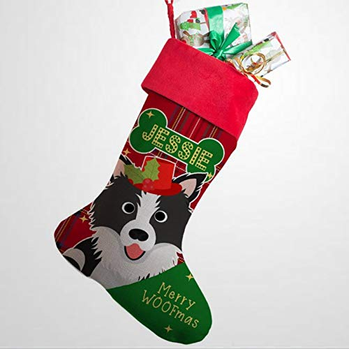 DONL9BAUER Christmas Stockings, Soft Personalised DOG Christmas Stocking Border Collie Pet for Fireplace Tree Hanging, Xmas Ornament Present Bag for Family Holiday Decor