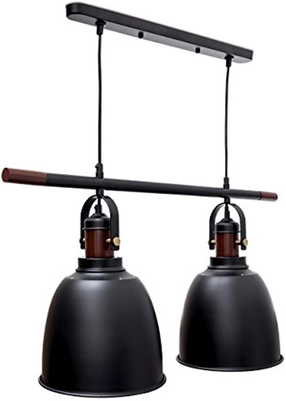 Relaxdays Pendelleuchte Glocca 2-flammig HBT  116 x 81 x 24 cm Deckenleuchte hhenverstellbar aus Metall und Holz für zwei Leuchten Hngelampe in Glocken-Form als Deko-Element, schwarz