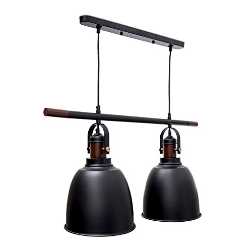 Relaxdays Pendelleuchte Glocca 2-flammig HBT: 116 x 81 x 24 cm Deckenleuchte höhenverstellbar aus Metall und Holz für zwei Leuchten Hängelampe in Glocken-Form als Deko-Element, schwarz