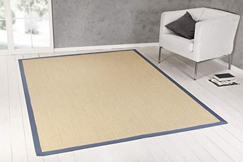 ASTRA Sisal Teppich Manaus Care Sondermaß auf Anfrage, kostenloser Musterversand (007021 Natur Bordüre blau,(12) 200X200 cm)