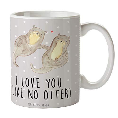 Mr. & Mrs. Panda Teetasse, Kaffeebecher, Tasse Otter händchenhaltend mit Spruch - Farbe Grau Pastell
