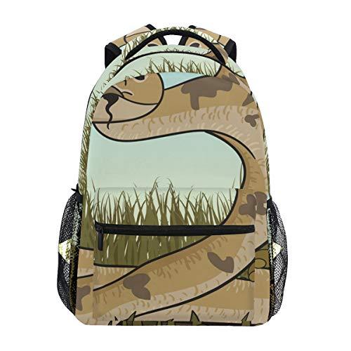 Braune Rasselschlange auf der Suche nach Prey Schultasche Rucksack mit großer Kapazität Canvas Rucksack Umhängetasche Casual Travel Daypack für Kinder Erwachsene Teenager Damen Herren