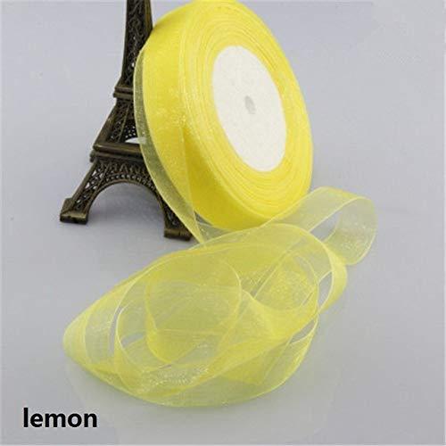 KTUCN Lint Zijde Satijn Roll - 2cm 50 Yards Tule Stof Zijde Satijn Organza Polyester Linten Voor het naaien Bruiloft Lint Decoratie Cadeau Verpakking Riem, citroen
