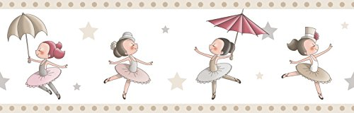Rasch Textil Papierborte Bordüre selbstklebend - Bimbaloo 2- 330457 weiß beige Ballerina