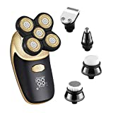 KEMEI Electric Shaver Razor for Men Bald Head Shaver Nose Hair Beard Trimmer 5 in 1 Grooming Kit, Cordless and Waterproof Electric Rotary Shaver LED Display Quick USB Rechargeable