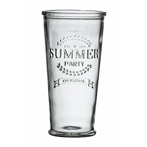 Amici Home, , Summer Party Hiball Drinking Glass, Relief Lettering, Dishwasher Safe, Set of 6, X-Large, 24 Ounces