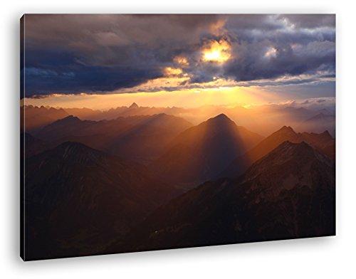 deyoli atemberaubende Aussicht von der Zugspitze Format: 80x60 als Leinwand, Motiv fertig gerahmt auf Echtholzrahmen, Hochwertiger Digitaldruck mit Rahmen, Kein Poster oder...