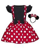 Jurebecia Disfraz de Niñas Recién Nacida Tutú Vestido Cumpleaños Trajes Mameluco + Falda y Mini Mouse Ears Diadema Vestido de la Boda de Regalo Mangas Cortas