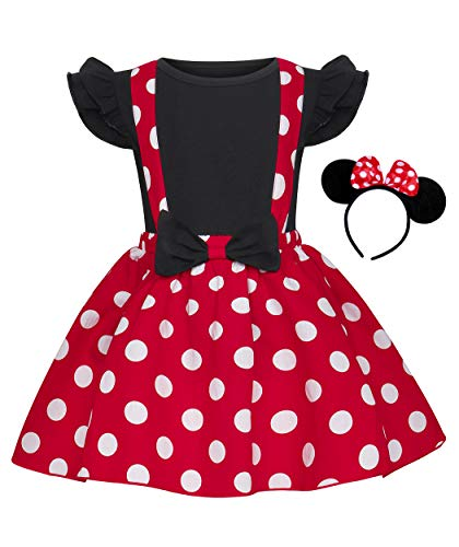 Jurebecia niñas Vestido de Lunares + Mini Mouse Ears Diadema Vestido de Fiesta de Princesa Vestido de Bautizo de Dama de Honor de la Boda de Regalo de cumpleaños Mangas Cortas