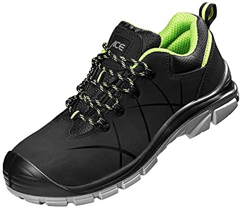 ACE Constructor S3-Arbeits-Sneakers - mit Stahlkappe - Sicherheits-Schuhe für die Arbeit - Schwarz/Grün - 41