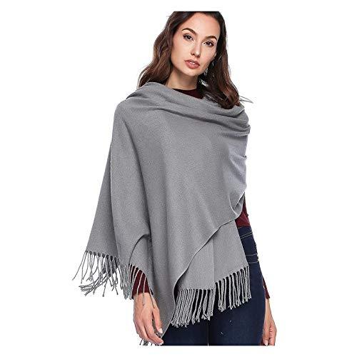 Towel Rack Bufanda Manta de Lana de Cachemira Mantón Grueso Wraps Pashmina Bufanda Suave (Color : 05-Light Gray)