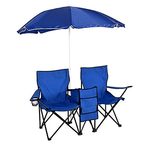 Portable Outdoor 2-Seat Folding Chair with Removable Sun Umbrella Blue Portable Folding Stools Fishing Stools for Travel Hiking Gardening Picnic Beach BBQ Outdoor Activities
