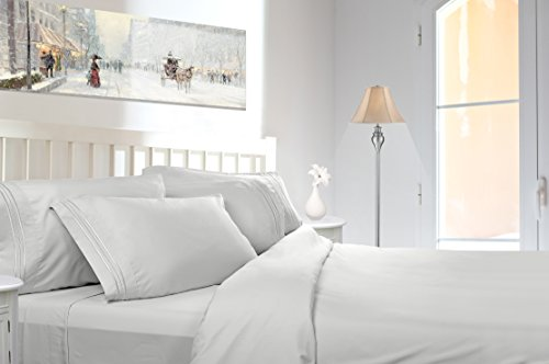 Split King, White - Premier Sheets Set, Triple Line Piping Embroidered on the Pillowcase, Egyptian Style Triple Brushed, Feels Like Micro Cotton Texture, Made by Clara Clark.