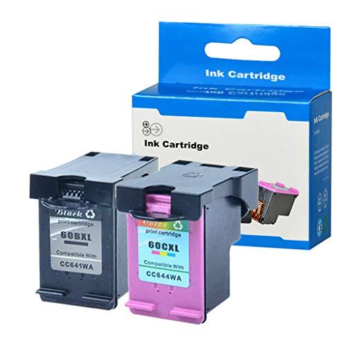SuperInk Remanufactured 60XL 60 XL CC641WN CC644WN Ink Cartridge Replacement Compatible for Hp Photosmart C4680 D110 Deskjet D2680 D1660 D2530 F2430 F4210 Printer (1 Black 1 Tri-Color)