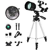 ERZHUI Soporte para Celular y Respaldo de Bolsa, niños y Principiantes en astronomía, telescopio astronómico Junior portátil F30070 150 x 70 mm HD con trípode