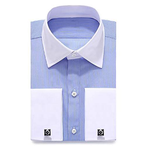 siliteelon Men's Stripe Double Cuff Dress Shirts Cufflinks Included