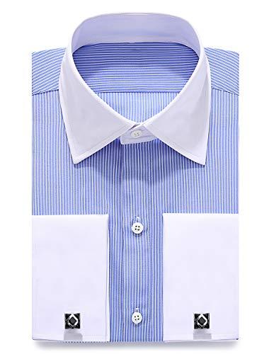 J.VER Herren Französische Manschette Normale Passform Business Hemden Lange Ärmel Manschettenknöpfe aus Metall Geschäft
