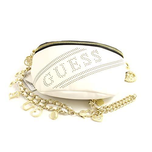 Guess - Riñonera para mujer, piel blanca con logotipo perforado Cinturón con cadena y colgantes y bolsillos interiores.