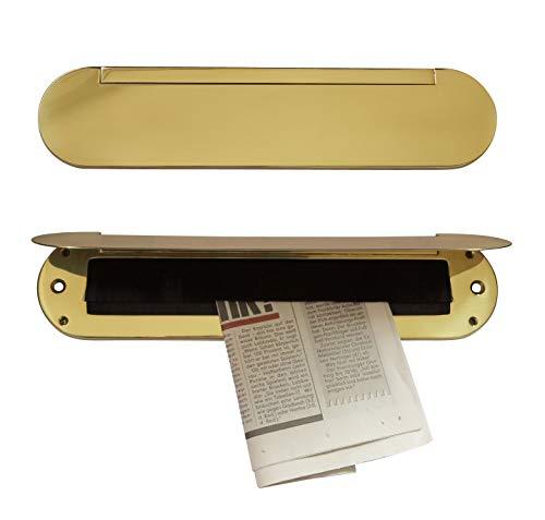Innenklappe-mit Bürsteneinsatz-Messing poliert-brüniert-Chrom-Mattchrom-Briefeinwurf=345 x 80 mm-Briefklappe-Briefkasten-Briefschlitz (Messing poliert)