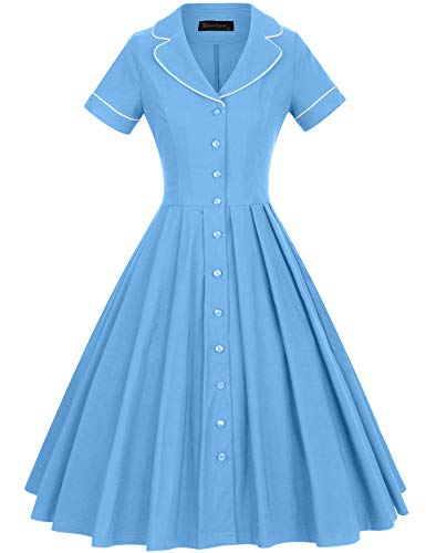 GownTown Women's 1950s Vintage Short Sleeves Notch Lapel Swing Dress