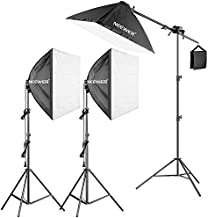 Neewer Photography Studio 600W Softbox Lighting Kit - 3 Packs 24x24 inches Softbox with 45W Fluorescent Light Bulb, Light Stands, Boom Arm and Sandbag for Portraits Video Shooting (US)