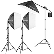 Neewer 600W Pro Softbox Lighting Kit - 3 Packs 24x24 inches/60x60 Centimeters Softbox with 45W Fluorescent Light Bulb for Photo Studio Portraits, Product and Video Shooting