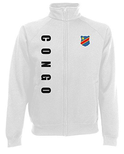 AkyTEX Kongo Congo Zaire Sweatjacke Jacke Trikot Wunschname Wunschnummer (Weiß, L)
